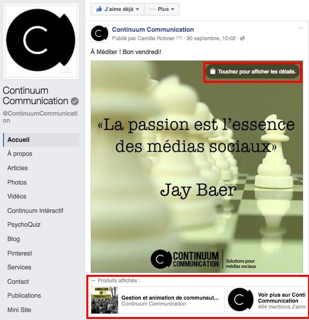 Page Facebook: notifier ses services/produits