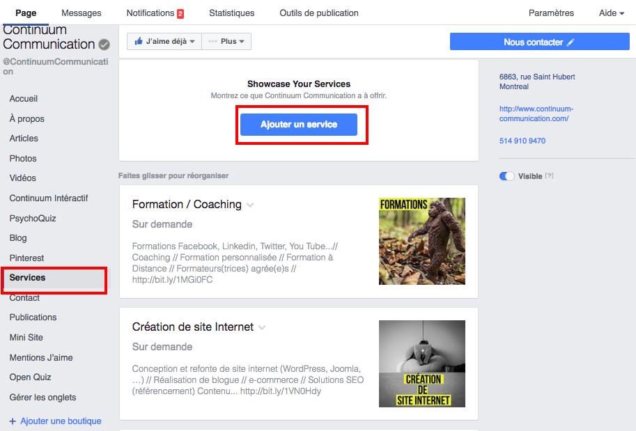 Page Facebook: afficher ses services