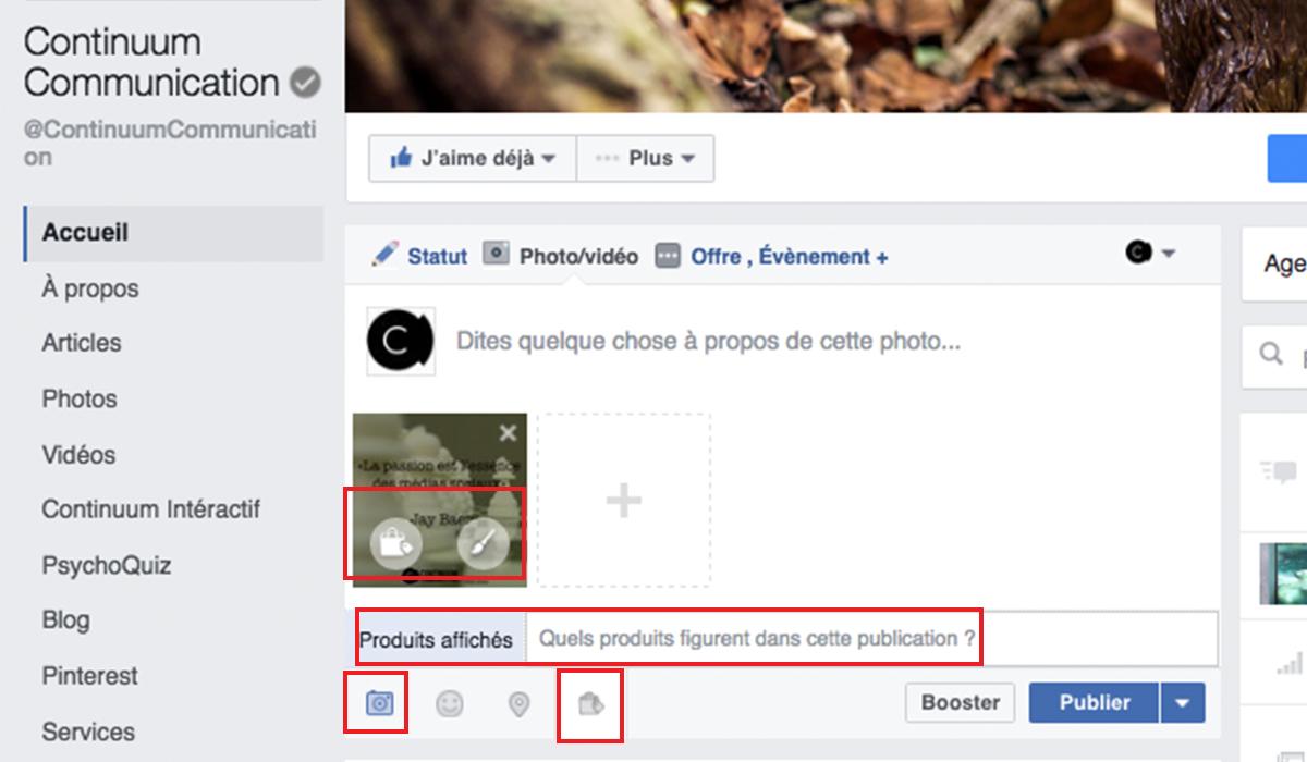 pageFacebook, outils d'édition et de notification