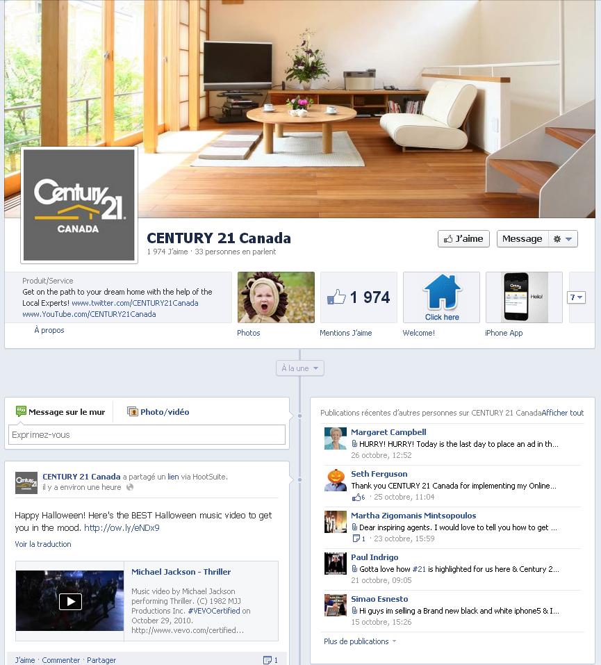 La page entreprise Facebook en 2012, la couverture fait son apparition!