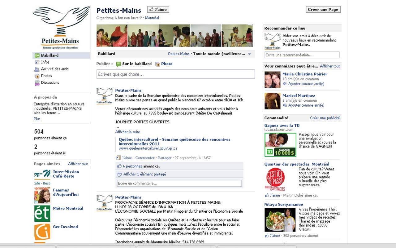 La page entreprise Facebook, était très rudimentaire!