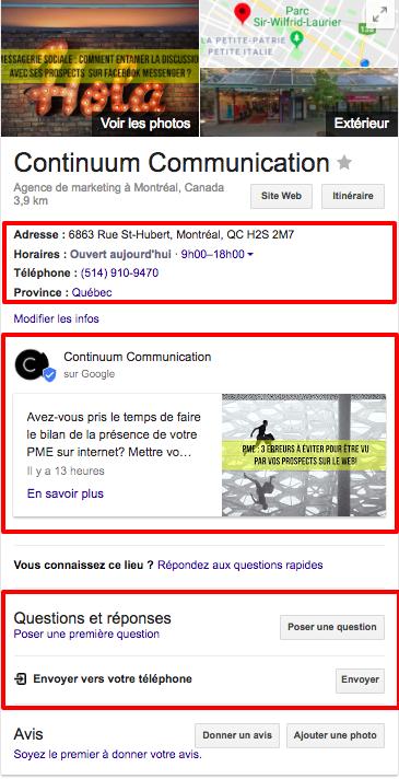 Google mon entreprise - Continuum Communication