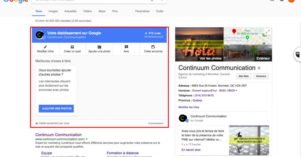 Google Mon entreprise nouvelle interface