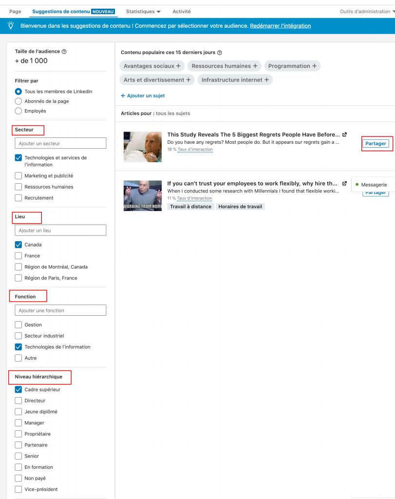 Page entreprise Linkedin : suggestion de contenu