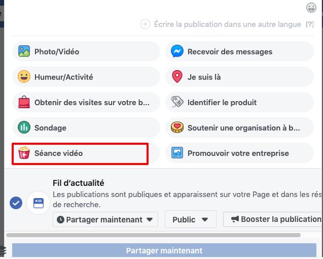 Créer une séance de vidéos Facebook