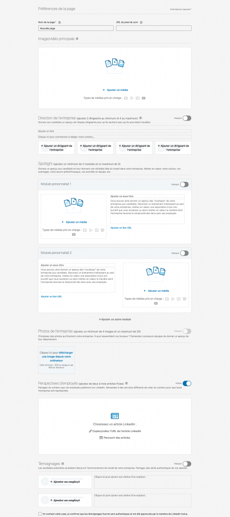 page carrière Linkedin