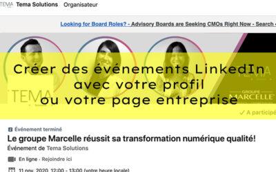 Créer des événements LinkedIn avec votre profil ou votre page Entreprise