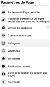 lier paage facebook et compte instagram